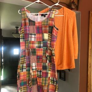 Madras dress and Coldwater creek sweater